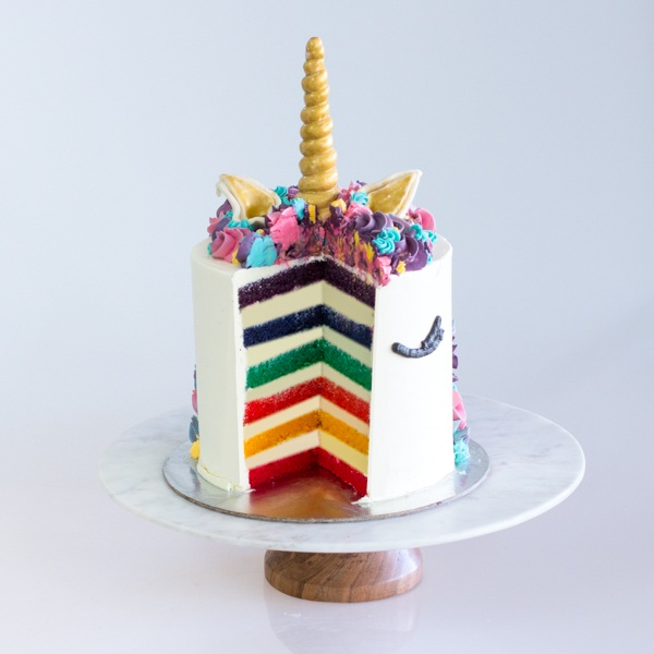 "Rainbow Cake Inside our Unicorn Magic in 12 Serves / 6"" Size"