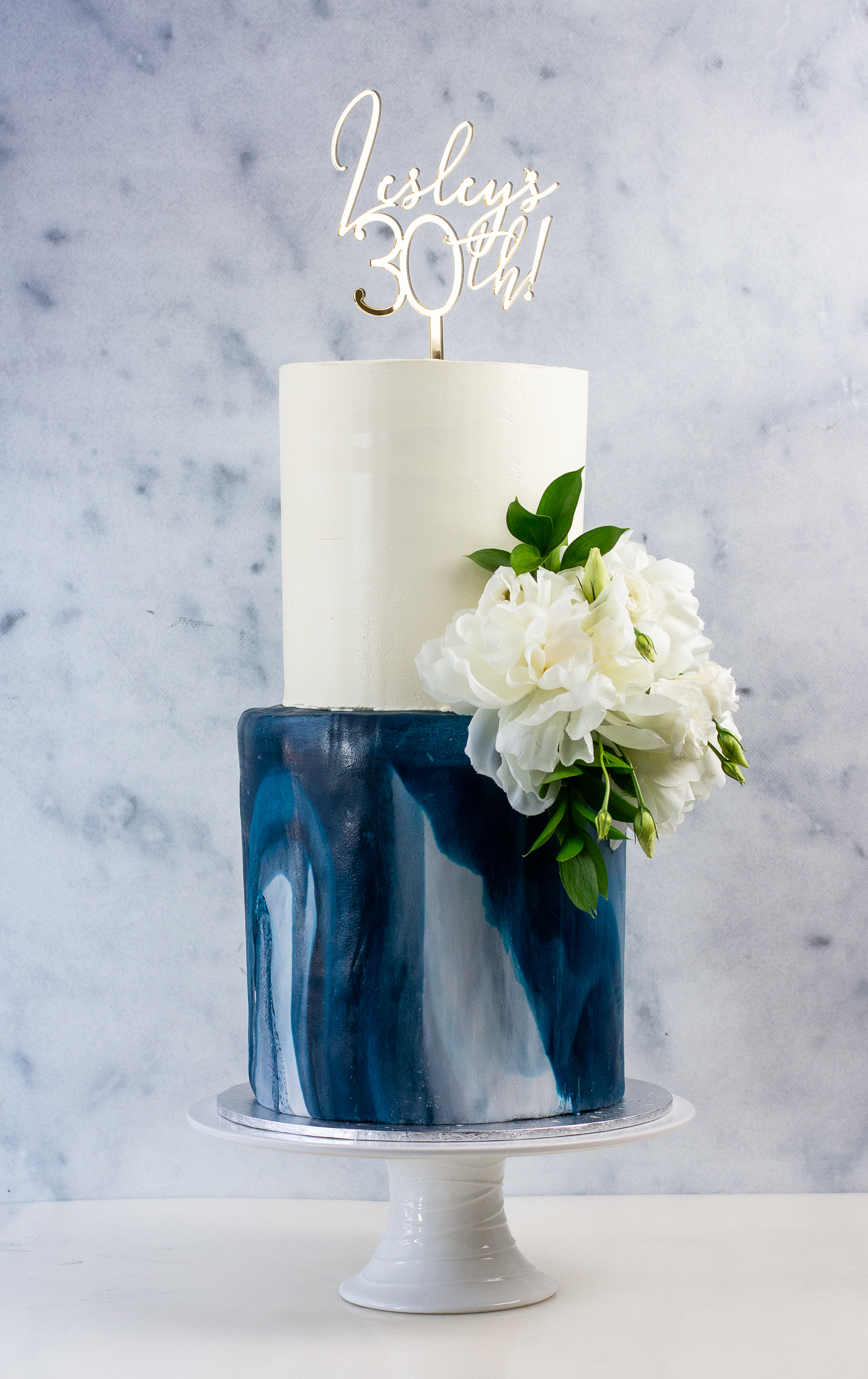 Marble Fondant Custom Two-Tiered Cake