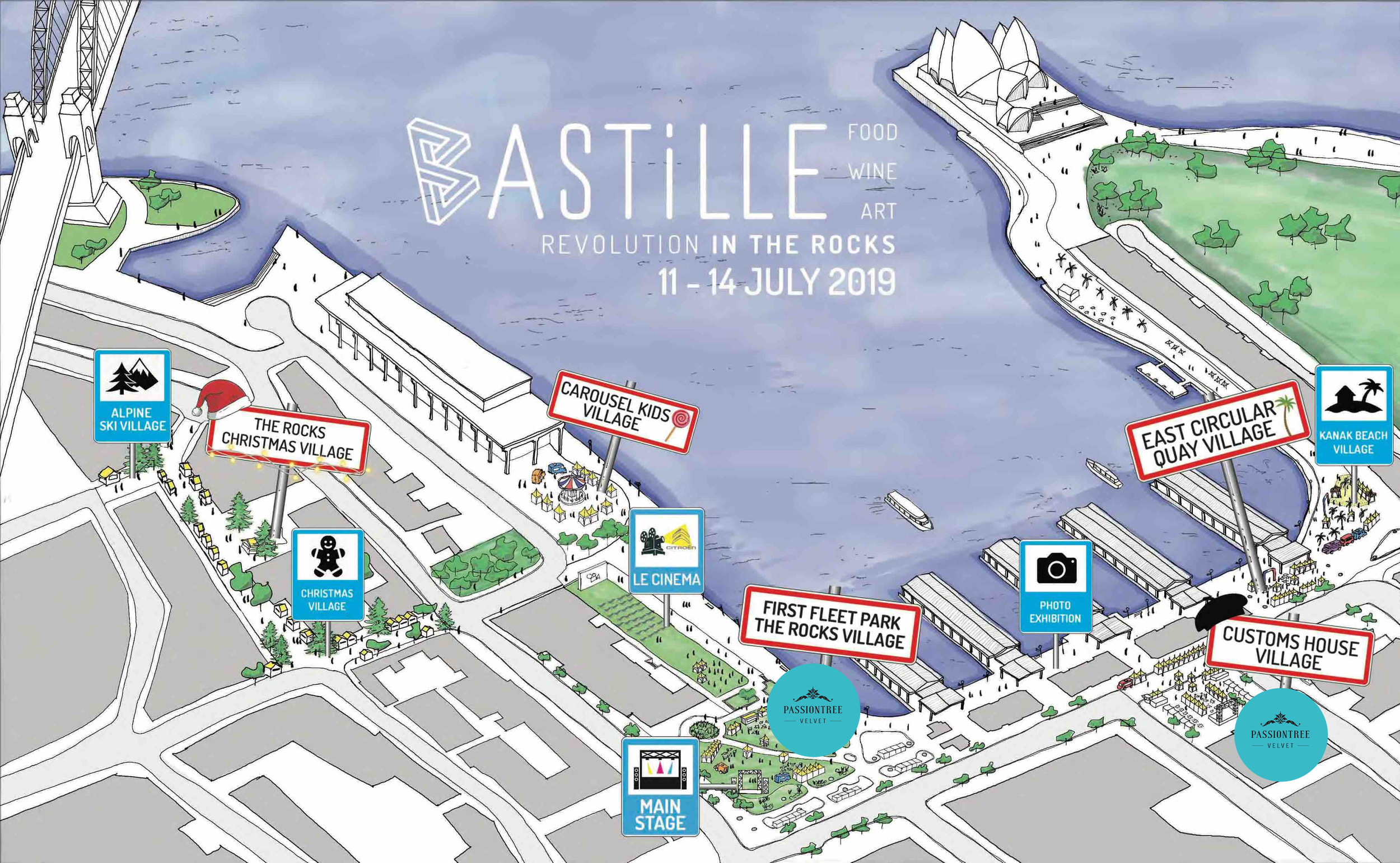 Passiontree Velvet will be located in First Fleet Park  and  Customs House Village from July 11th-July 14th, 2019