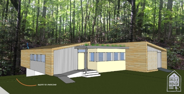 A preliminary rendering of the front entrance, playing with textures and materials for siding and roofing.