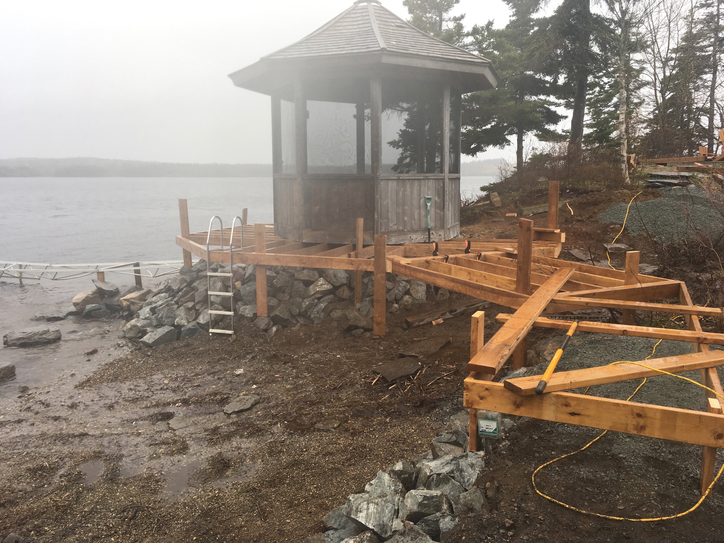 Gazebo on it's new point- boardwalk in progress.