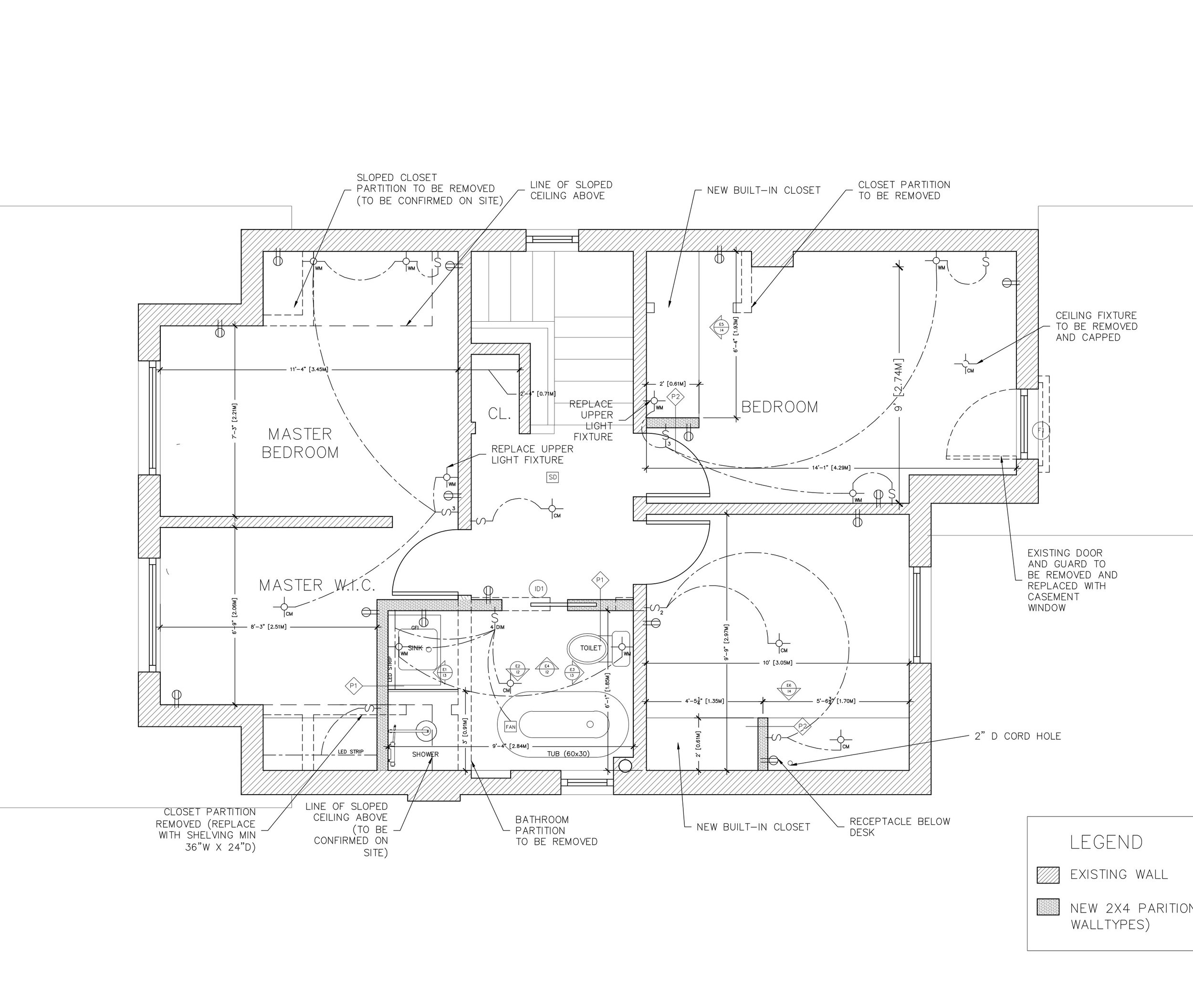 "Plan drawing of the second floor. We ""stole"" about 2-1/2"" feet from the smallest bedroom."