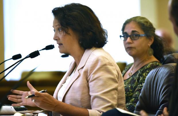 Sally Erickson of the Portland Housing Bureau at Tuesday's board briefing.