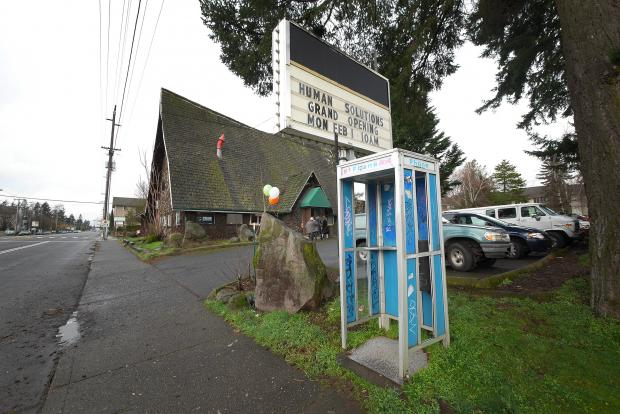 The exterior of the new year-round family shelter. The site, formerly the Black Cauldron strip club, is located at 16015 SE Stark St. in Portland.