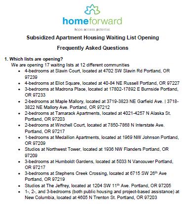 Waiting List Opening FAQ