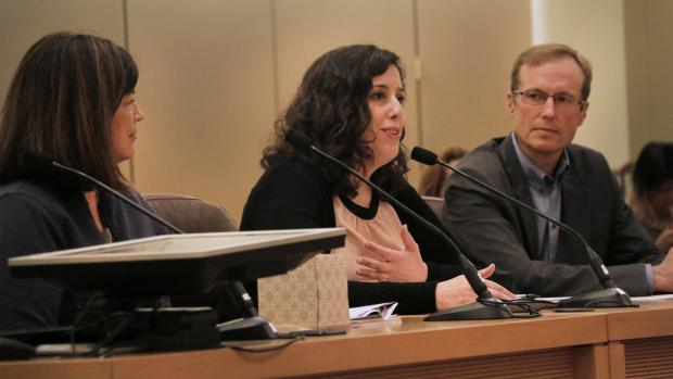 The Interim Director of the Joint Office of Homeless Services, Marc Jolin (right), presented at Thursday's board meeting with Multnomah County's Chief Operating Officer, Marissa Madrigal, and the City of Portland's Shannon Callahan.