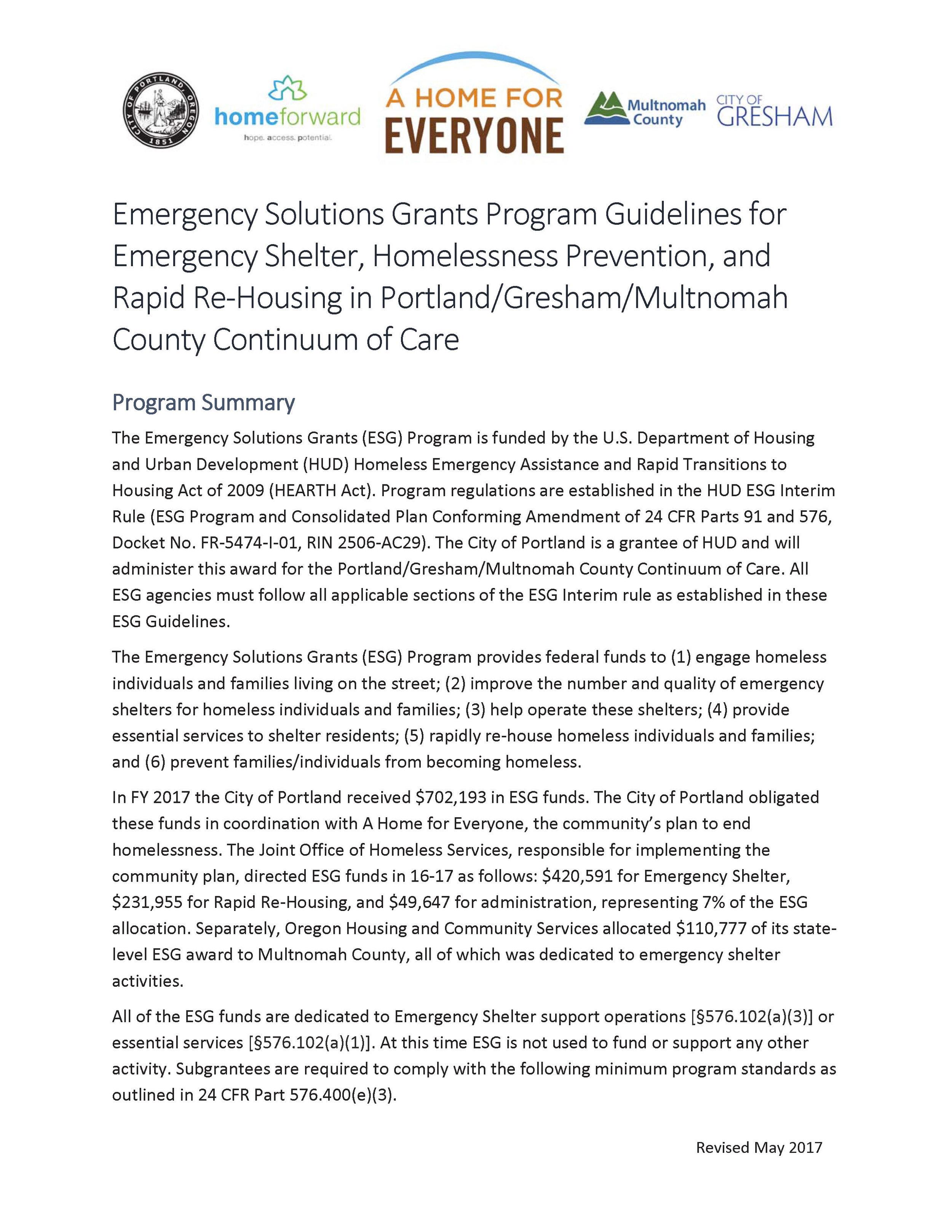 Read: ESG Guidelines for Portland/Gresham/Multnomah County