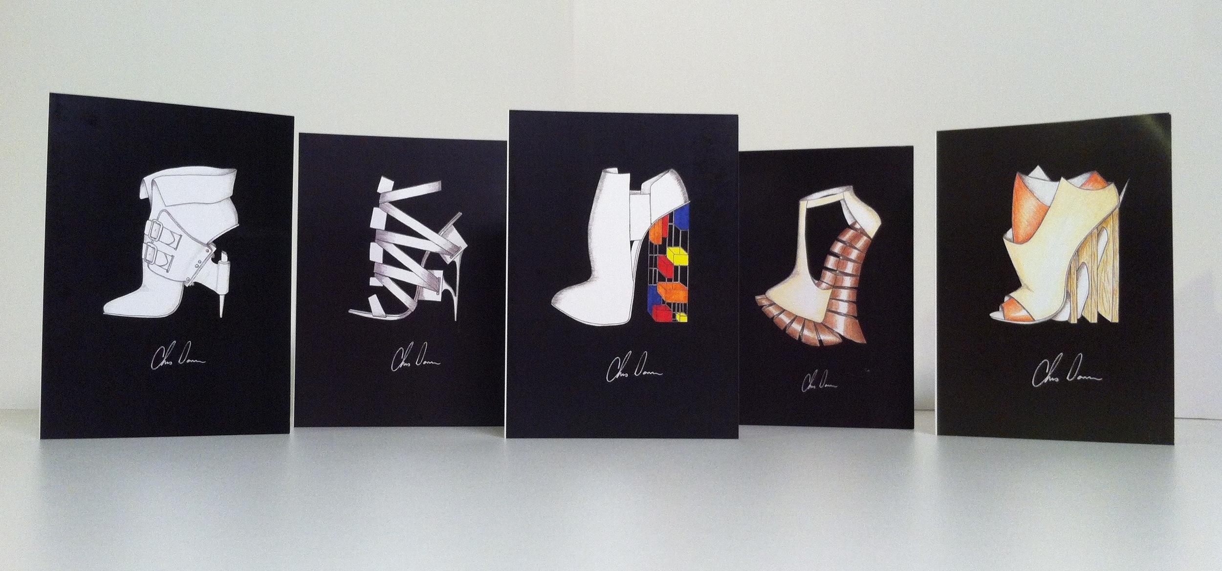 Set of 5 greeting cards of my original designs