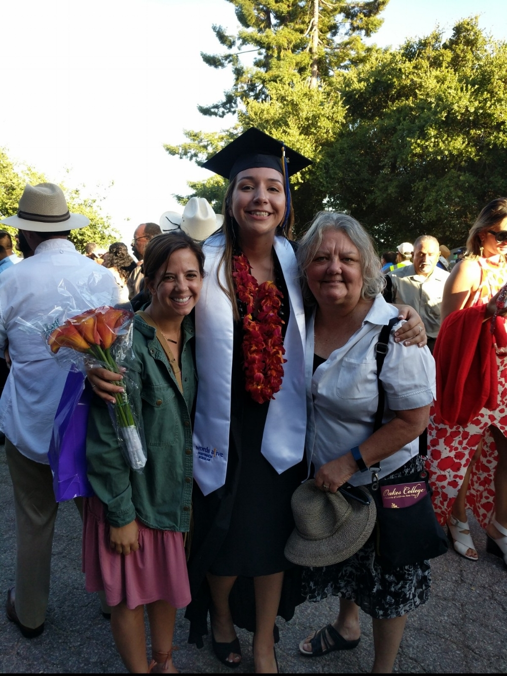 From left to right: Words Alive Operations Directior Chrissy Green Califf, Words Alive Westreich Scholarship Student Brittany Jackson, and Words Alive Volunteer Mentor Sarah Archibald. Chrissy and Sarah made the journey up to UC Santa Cruz for Brittany's graduation!