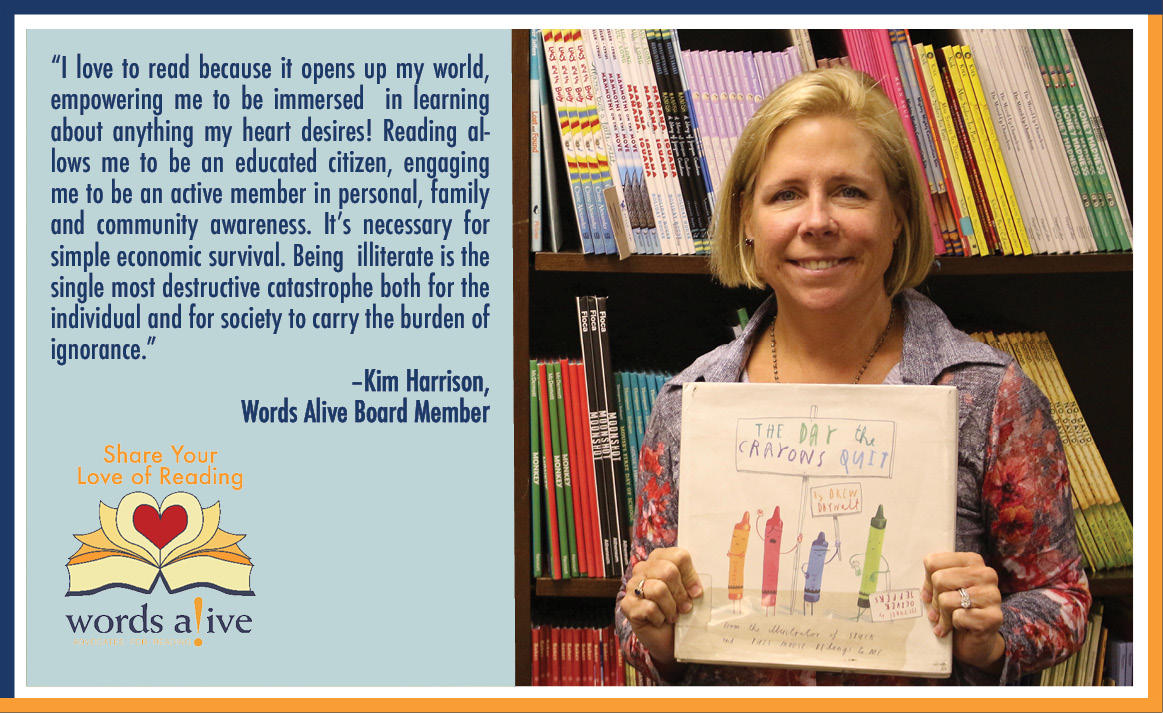 "A picture of Kim Harrison holding up a children's book, ""The Day the Crayons Quit"", for our Share Your Love of Reading campaign."