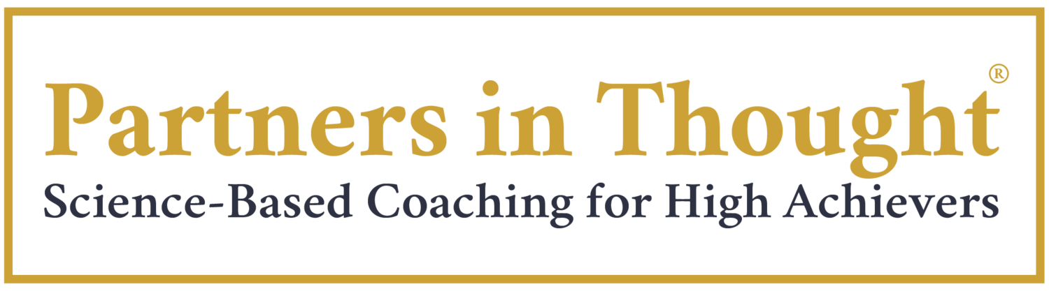 """An image of the Partners in Thought logo, featuring the tagline """"Science-Based Coaching for High Achievers."""""""