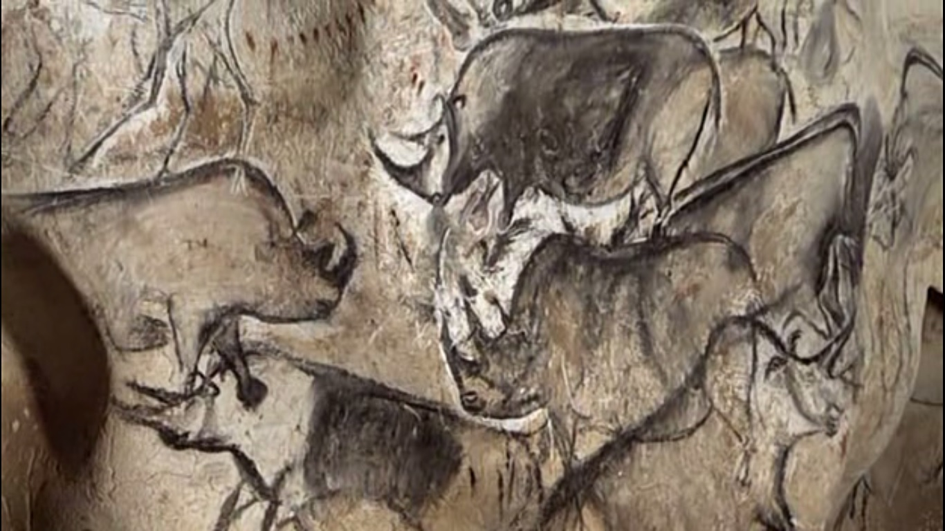 An image from the Chauvet Cave, depicting multiple rhinos.