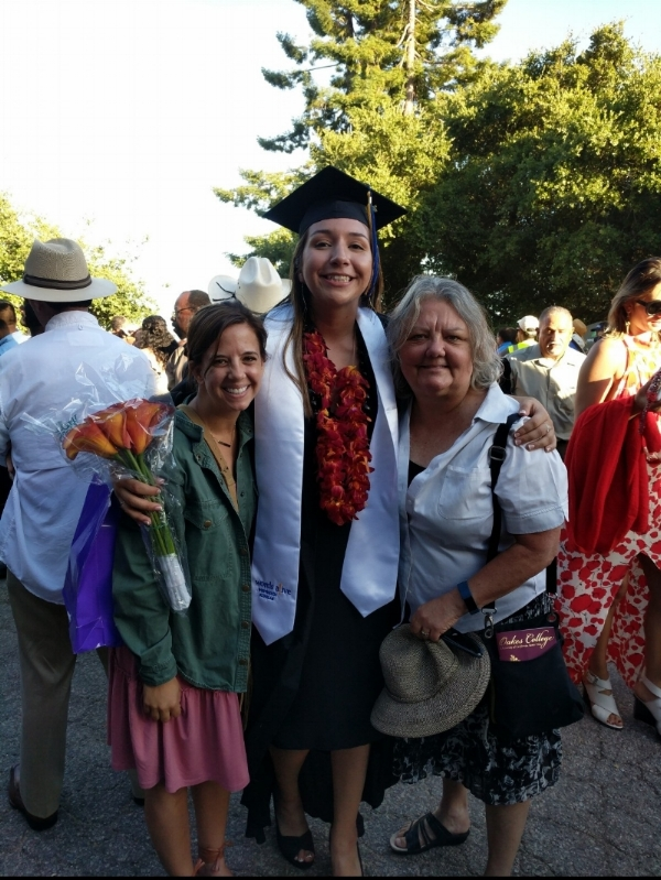 An image of Brittany with former staff member Chrissy Califf and her mentor Sarah Archibald at her graduation from the University of California, Santa Cruz.