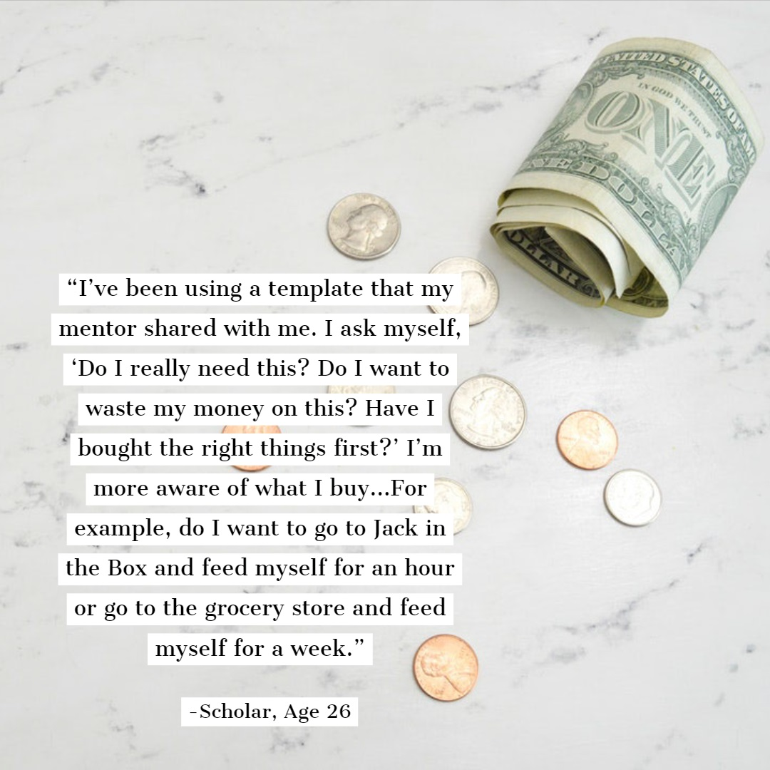 A graphic featuring the above quote over a background of a few dollars and coins spread out over a counter.