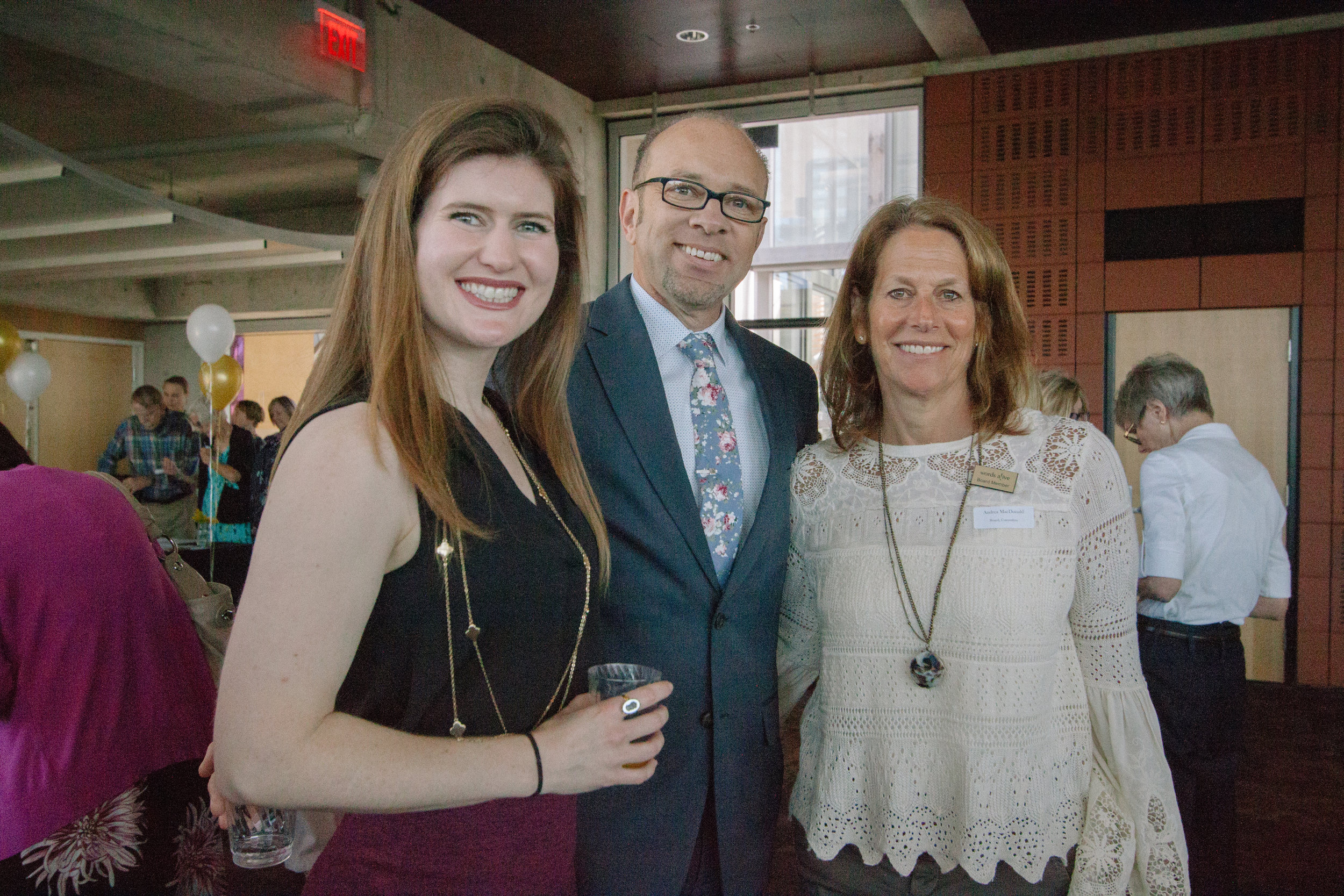 An image of Andrea with Christina Meeker, Words Alive Volunteer Program Manager, and Patrick Stewart, Words Alive Executive Director, at the 2018 Volunteer Appreciation Event.