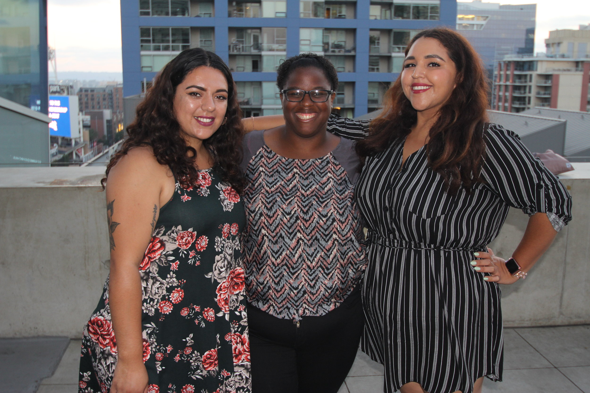 An image of three of our scholars, Zaphire, Domminiece, and Lexi, standing together at the 2018 Words Alive Westreich Scholarship Award Ceremony.