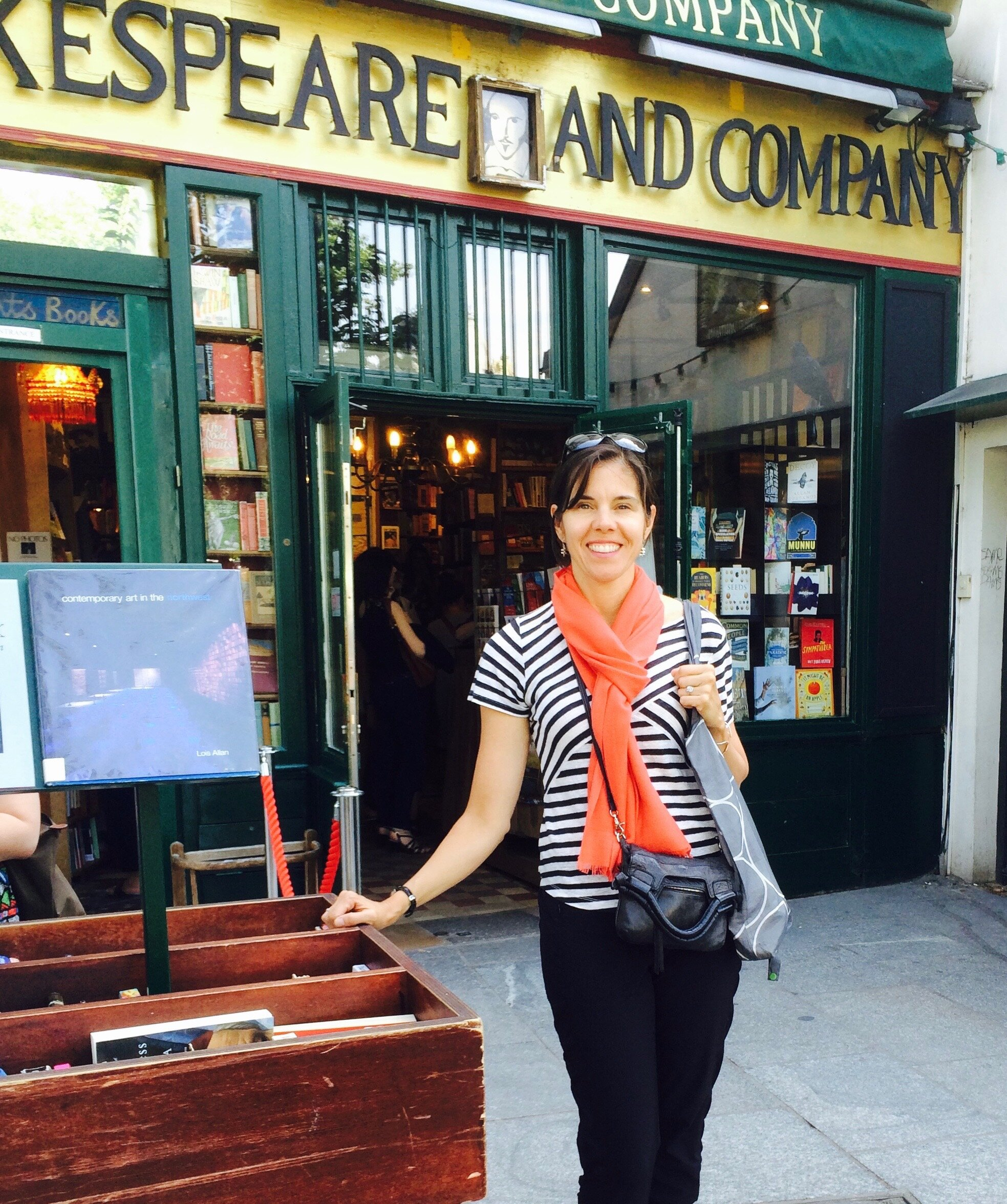 An image of Mary standing in front of the Shakespeare  Company bookstore!