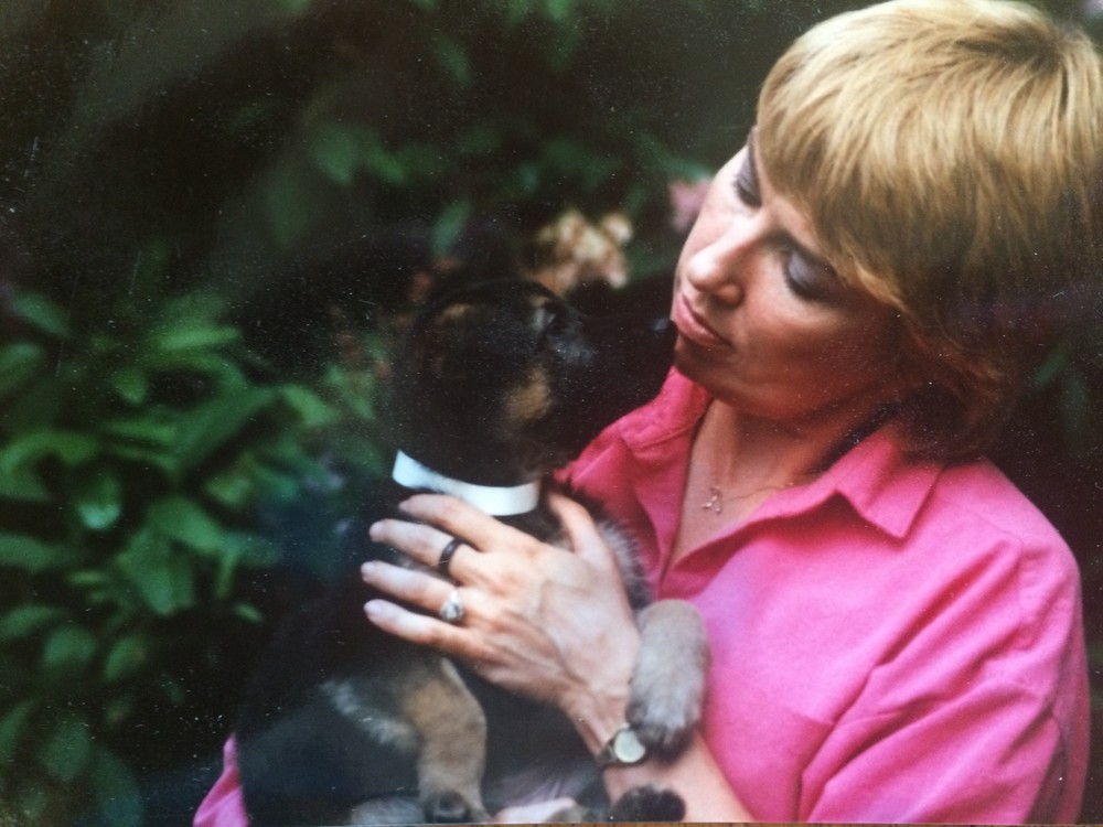 Judi with one of her GSD puppies