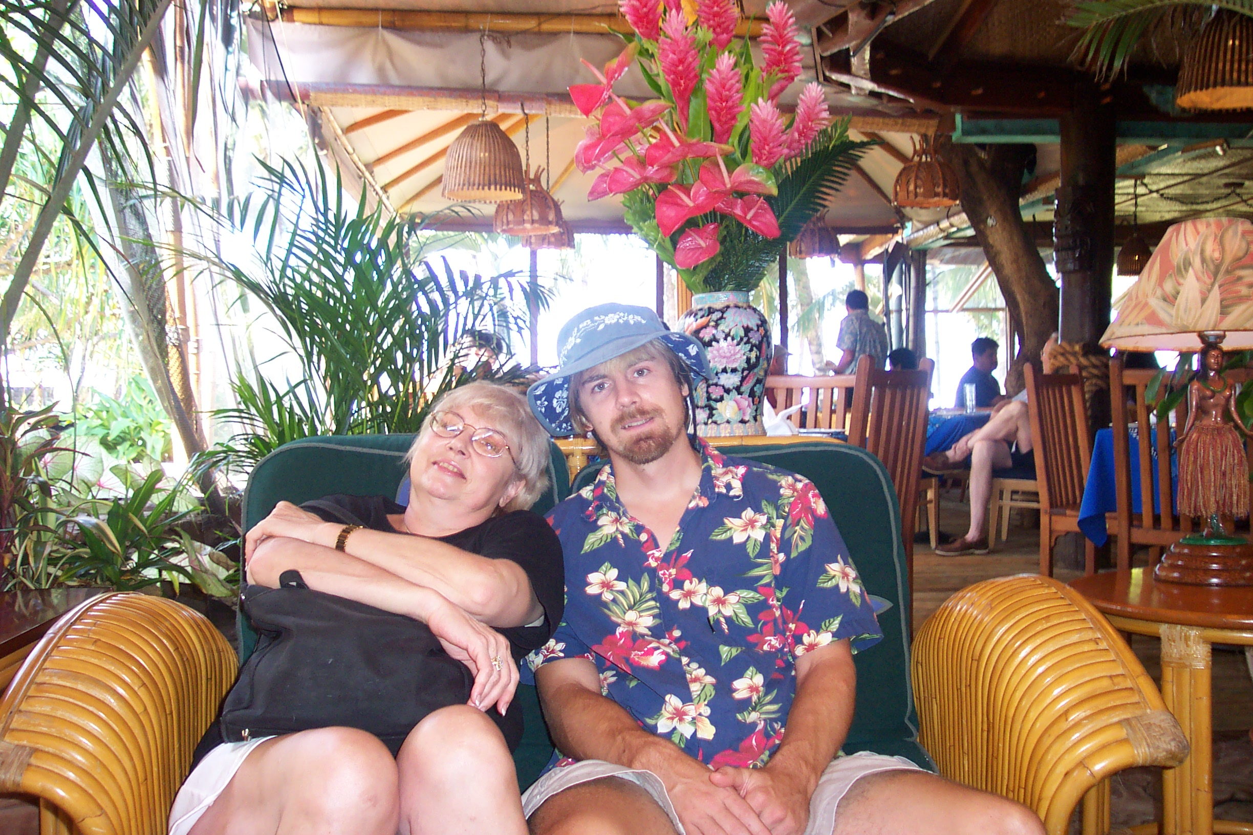 Judi and Dave at her favorite place: Mama's Fish House on Maui.