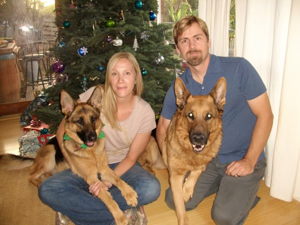 Amy and Dave with their two GSDs, Bart and Lola