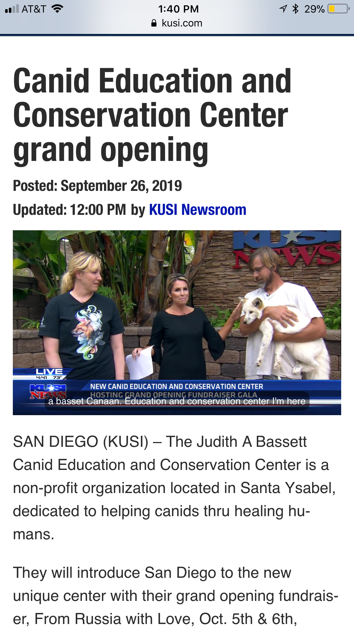 JABCECC Founders at KUSI - https://www.kusi.com/canid-education-and-conservation-center-grand-opening/