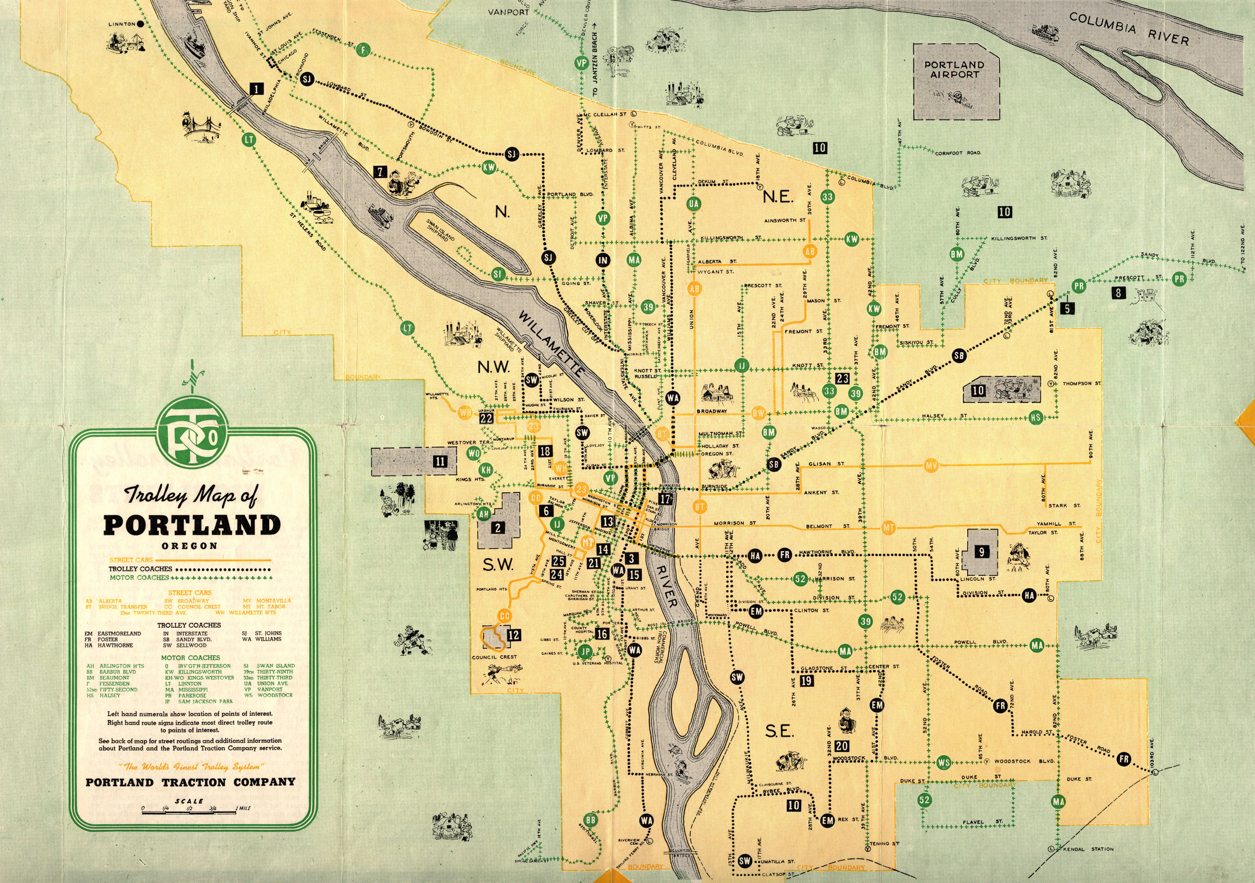 1943 Trolley Map (City of Portland Archives)