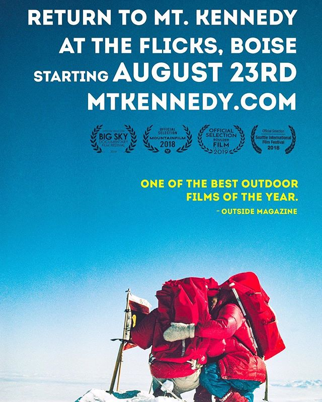 """🍿 TONIGHT and all weekend in Boise! @mtkennedyfilm at The Flicks Theater! With appearances / QnA by director Eric Becker and Subject Bobby Whittaker . . """"Much like a climbing expedition, you'll need to pack wisely for Return to Mount Kennedy. Leave the pick axe, rope and oxygen at home. Instead, bring your hunger for adventure, appreciation for history and keen sense for perspective"""" @boiseweekly 🎯 #jimwhittaker #bobbykennedy #mudhoney #eddievedder #yeahyrahyeahs #marklanegan #rem #everytrailconnects"""