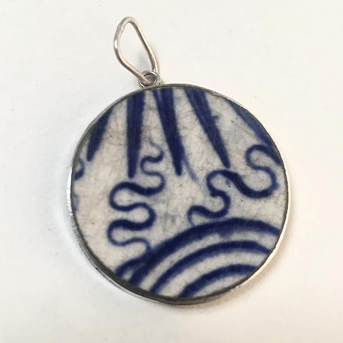 porcelain & silver pendant