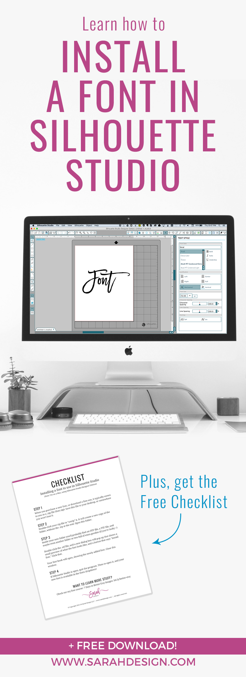 Finally a way to get your fonts to show up in Sil Studio! It's actually way easier than you think. Read on for all the details - Plus a free checklist download!
