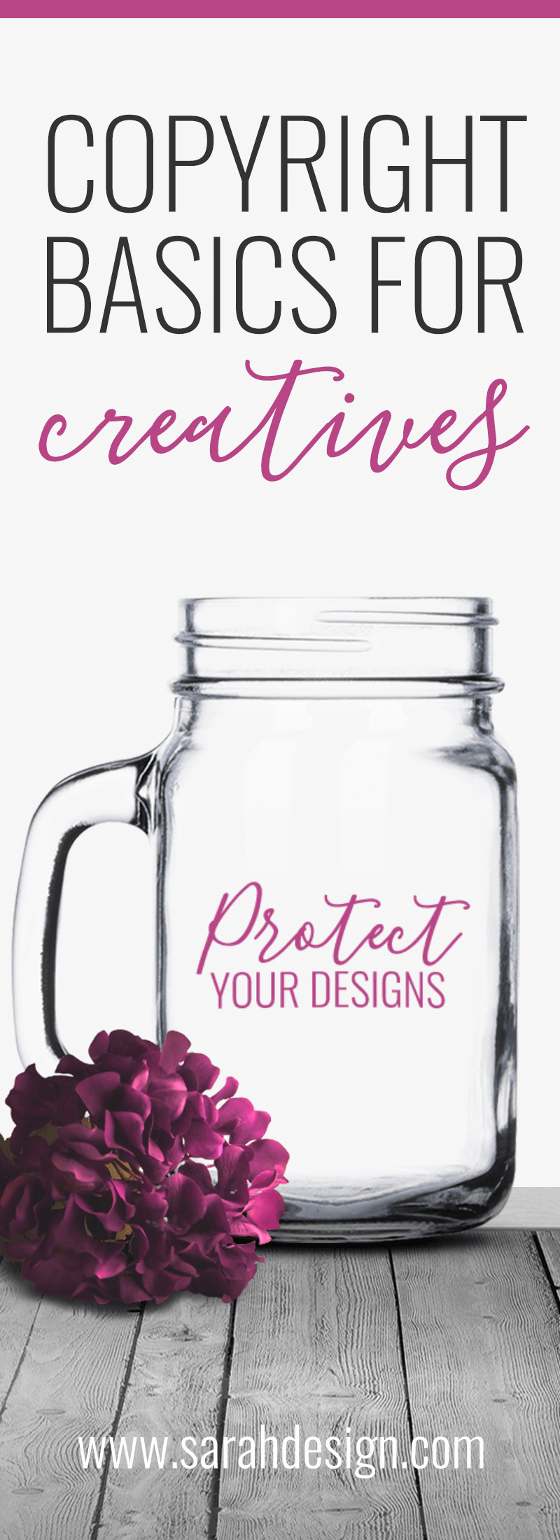 If you sell custom vinyl decal or etching designs in your shop and someone is stealing your designs, you need to know what to do! Learn copyright basics for creatives in this post on www.sarahdesign.com: 3 Essential Things to Know About Copyrights