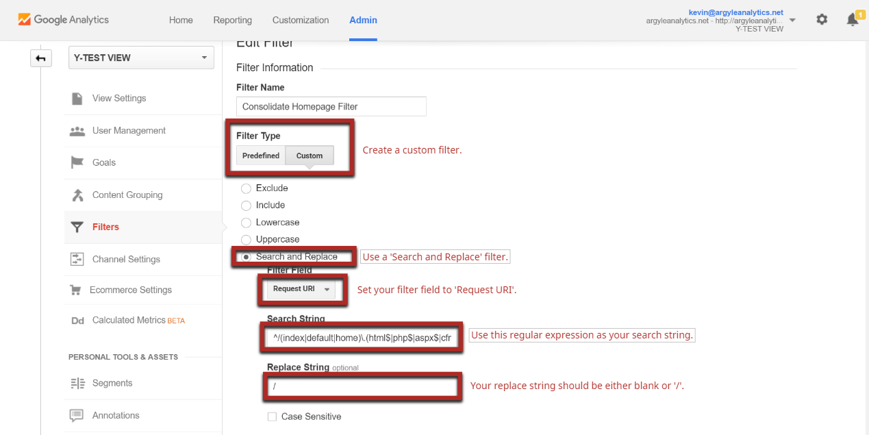 This image will walk you through how to perform the initial configuration of the filter to consolidate homepage hits to avoid having them parsed out in ways that screw up your Google Analytics reports.