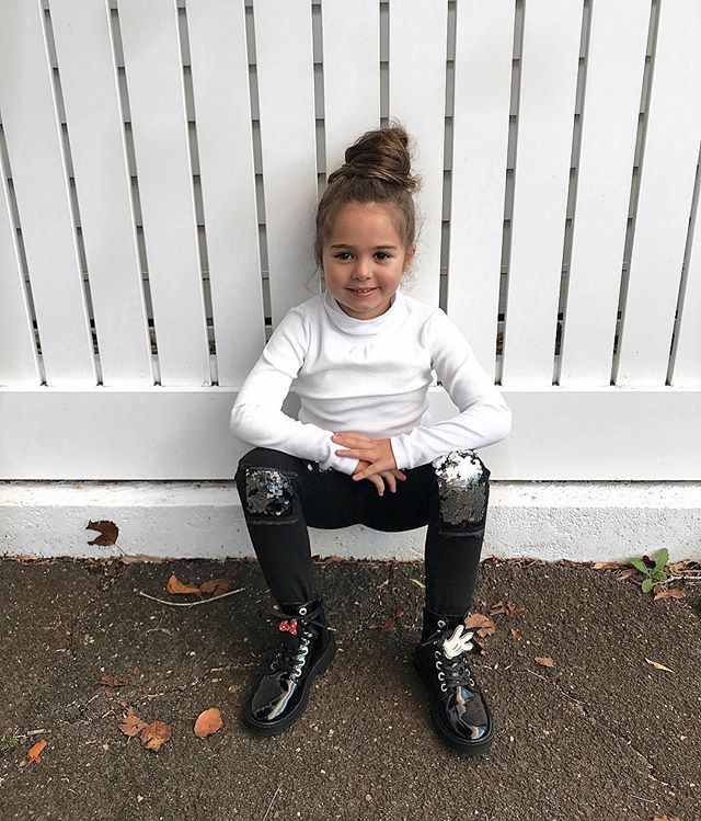 Cool kid on the block with her sequence jeans and look a like 'docs'. The energy this little poppet brings to our family is beyond! ❤️ She wanted a pic like this ~ who am I to argue! 🤷🏽‍♀️❤️ #Gigi #growingup #bestpersonality #coolkid #ootd