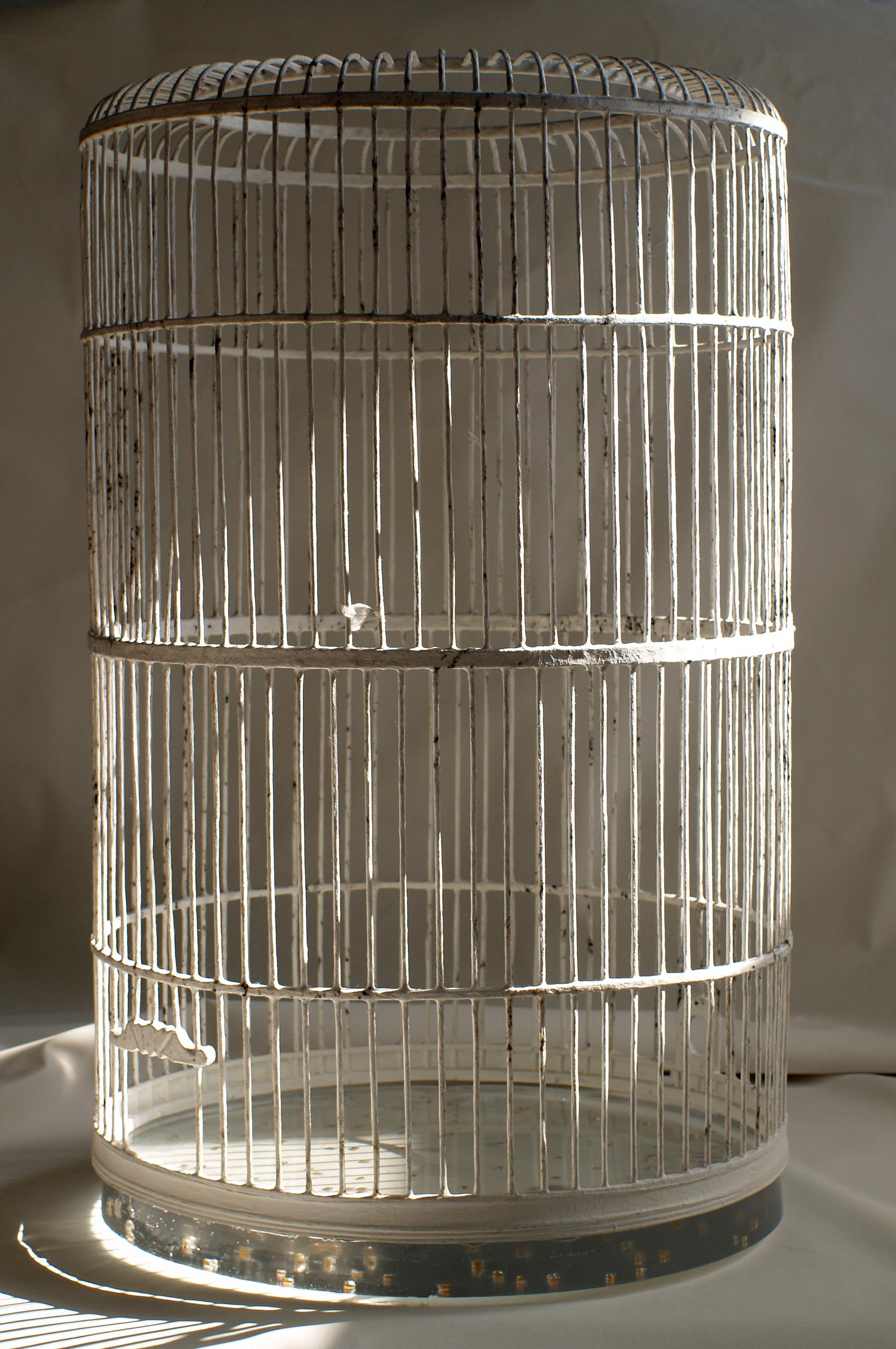 "Birdcage without roof #1  2010 Wood, washi paper, charcoal, resin, dried corn 21"" x 20.5"" x 35"""