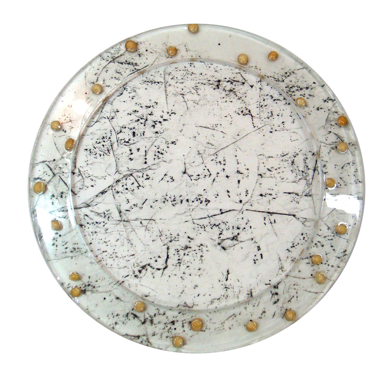 "Tree Rubbing S2 Melbourne   2010  Washi paper, charcoal, Macadamia nut, Resin, panel  21"" (diameter) x 2"""