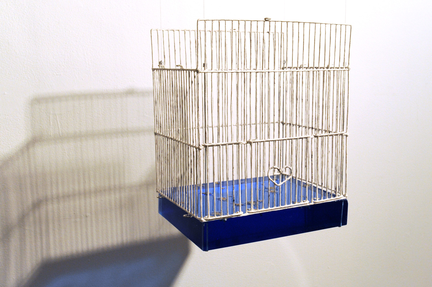 "Birdcage Without Roof #5    2010   Metal, washi, charcoal, flower petal, resin, wire   11.5""(w) x 8.5""(d) x 14""(h)"