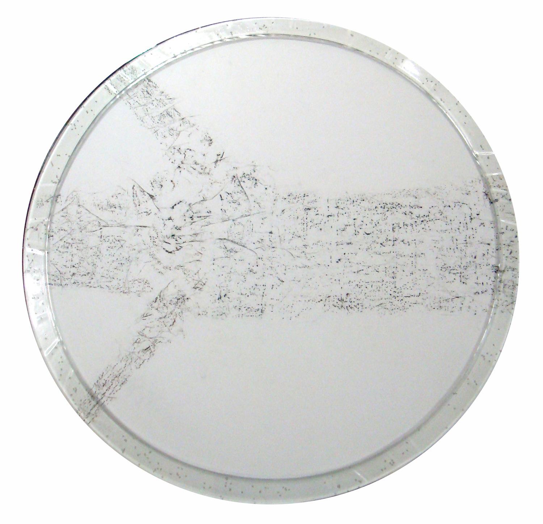 "Tree Rubbing L5 Nagano   2010  washi paper, charcoal, Japanese rice, resin, panel  45"" (diameter) x 2"""