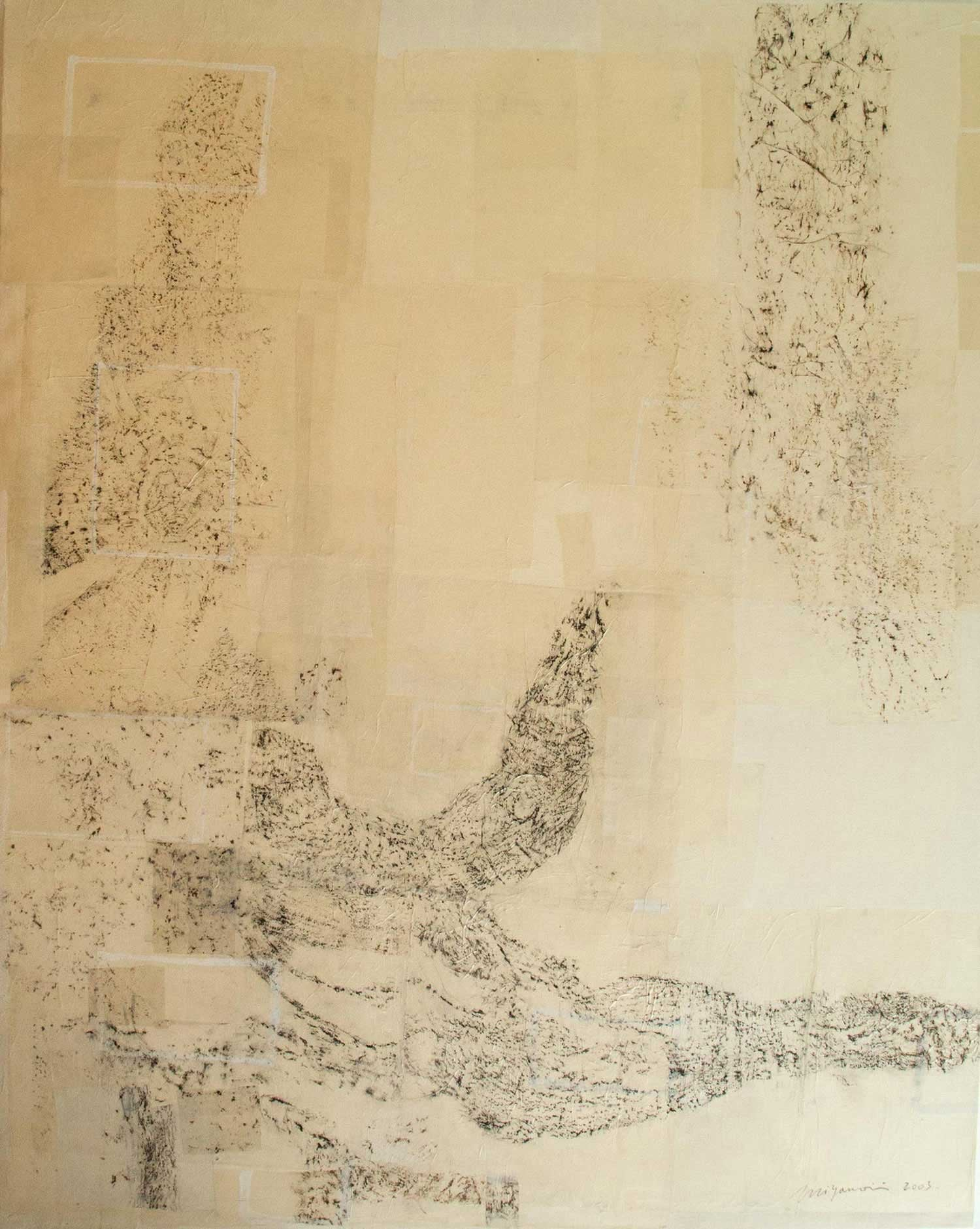 "Tree Rubbing    Charcoal, oil pastel, shell powder, washi on canvas 75"" x 62"", 2003"