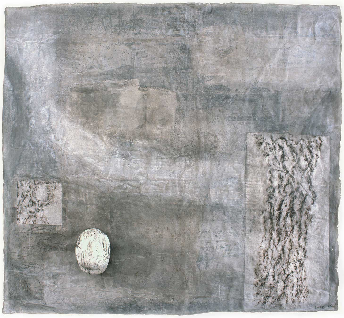 "Memory of the City Treasure II    2002   mixed media, washi on Linen   82""x 91"""