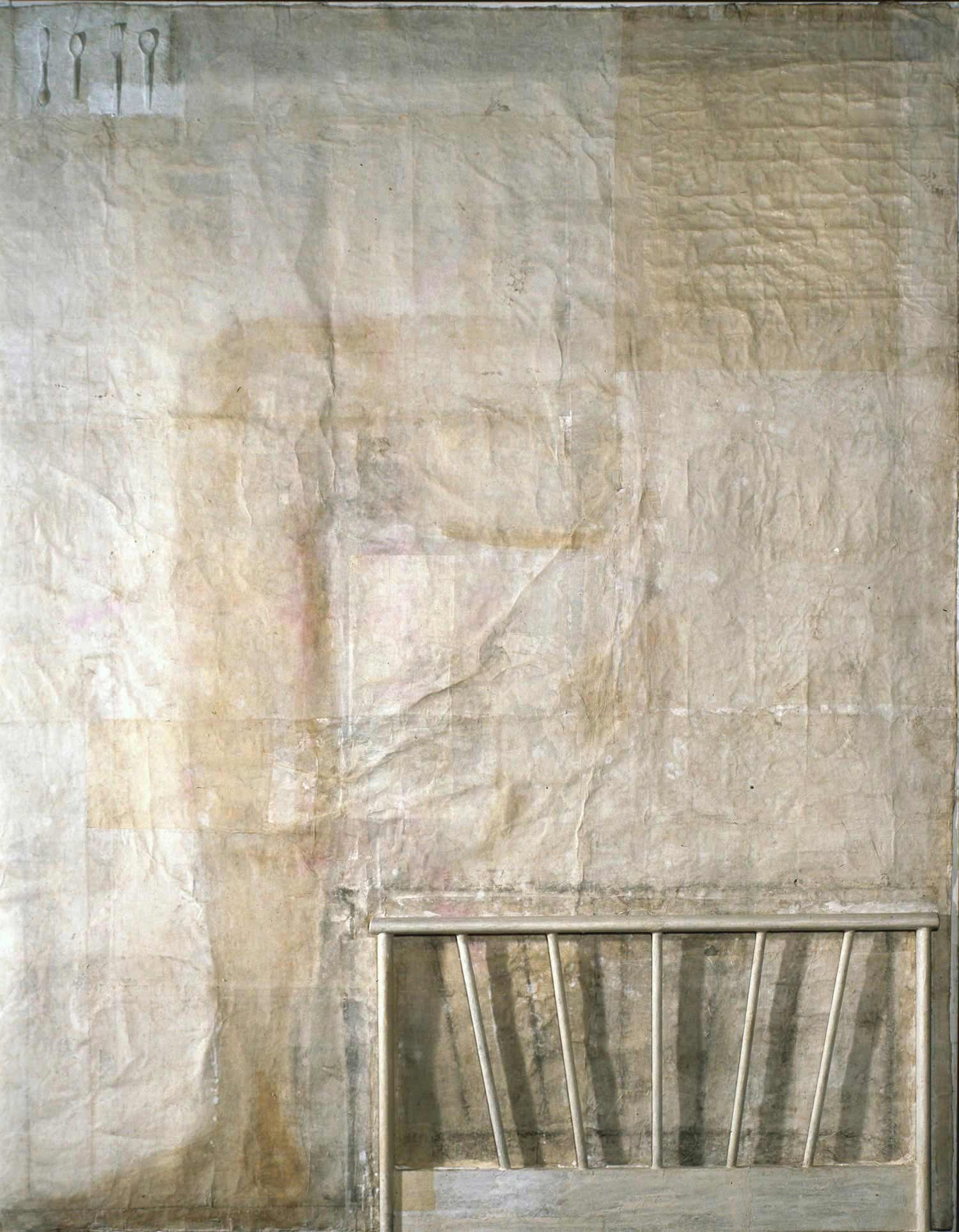 Leg and bed on table   2007    Mixed media, washi on canvas   90.6x71.5 inches (227.3x181.8cm)