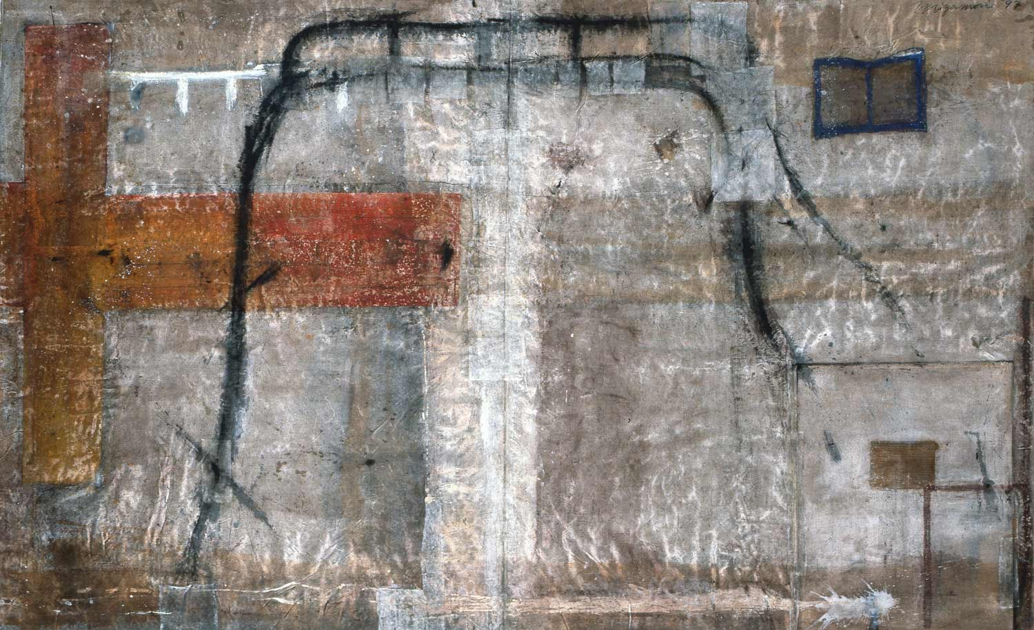 Profile painting - time w/bed and red point    1997  mixed media, washi on Linen 94.6 x 197 inches (240x500cm)