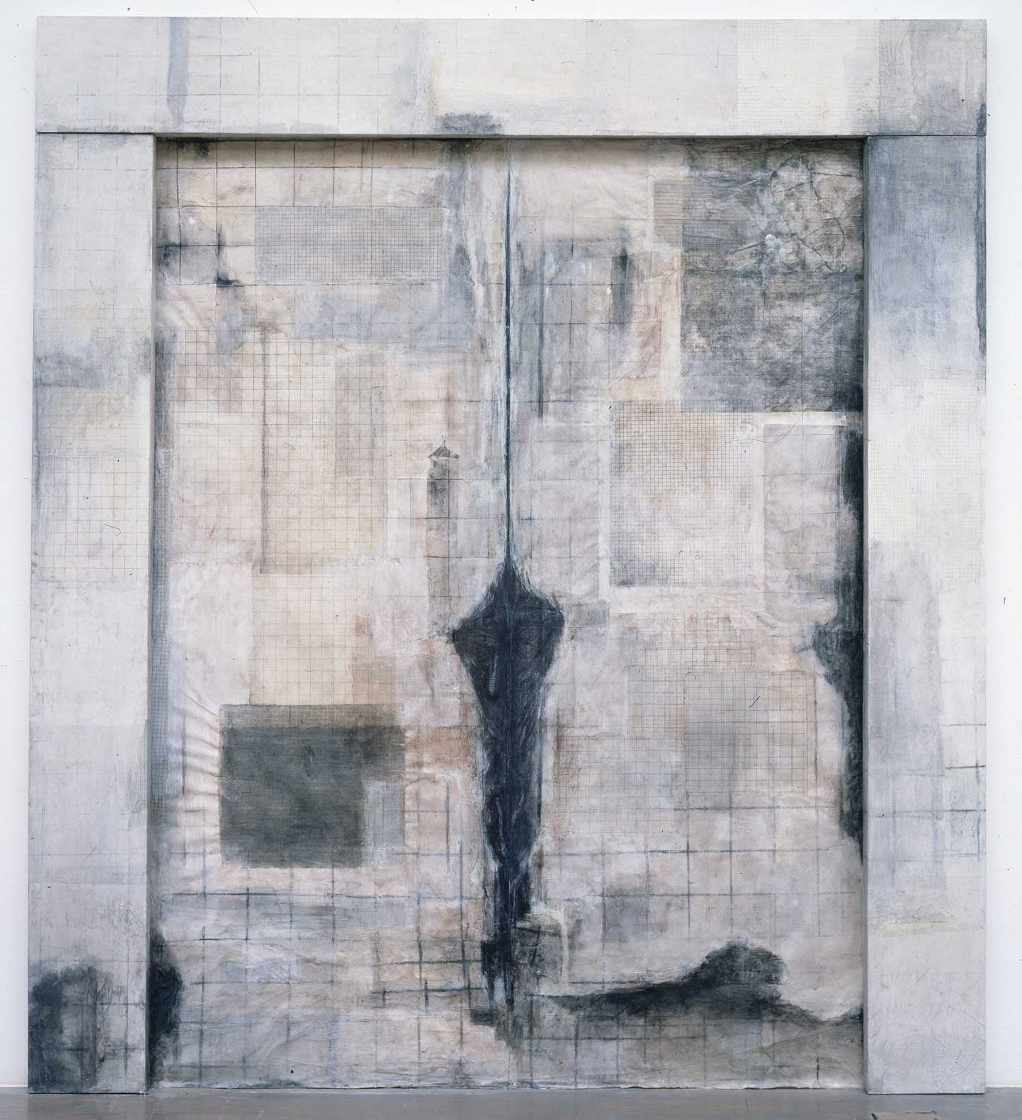 Figure III    1995   Panel, charcoal, ink, shell powder, washi on canvas 106 x 94 x 2 inches