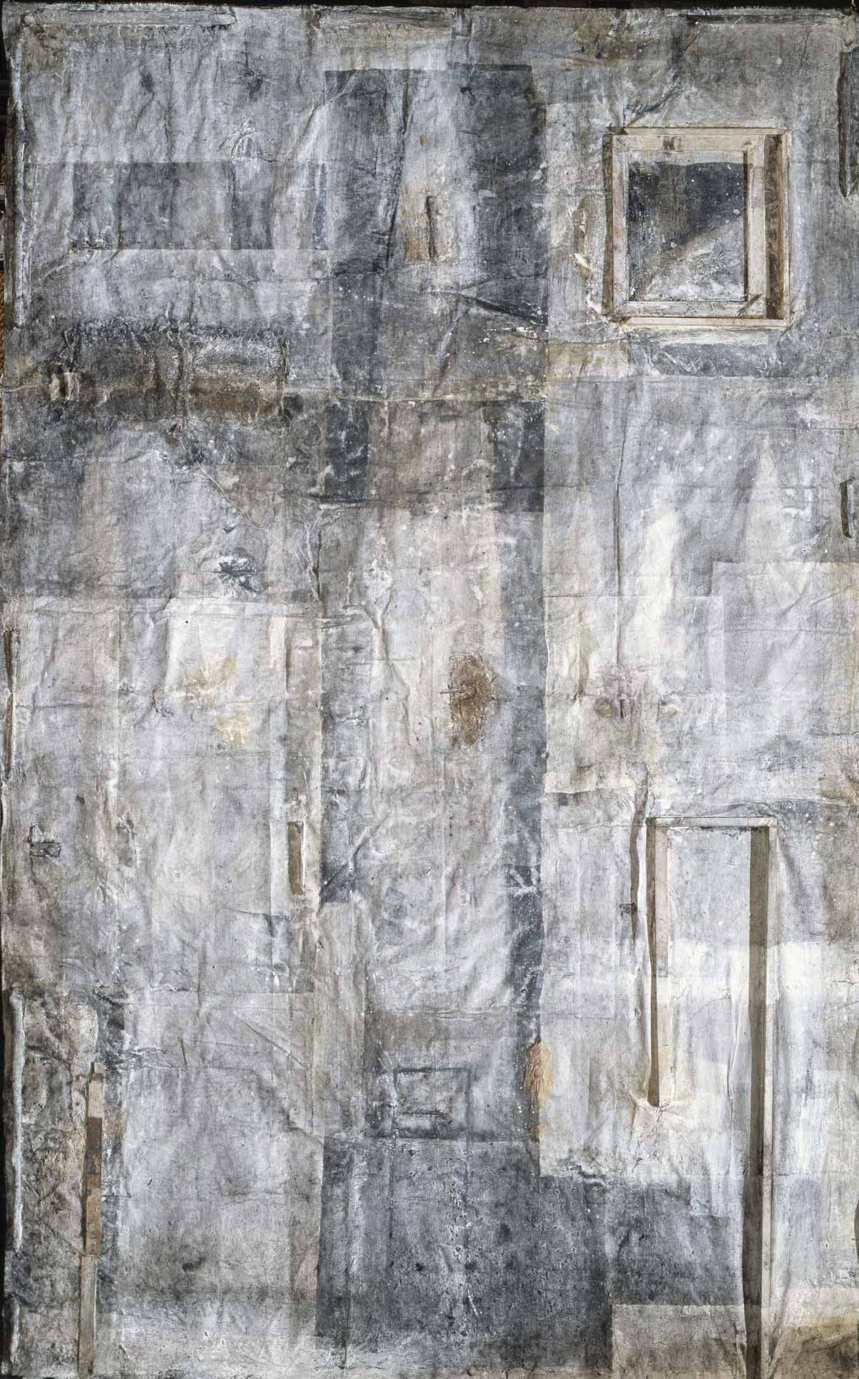 Collage with a Gate or Judging Man    1996   Charcoal, ink, mineral pigment, wood, string, washi on canvas   148 x 11 inches