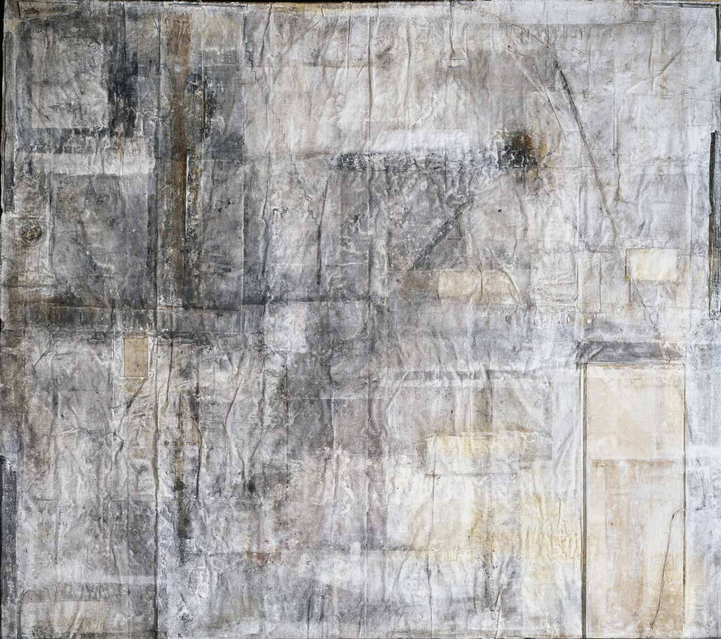 Collage with a Door   1996   Charcoal, ink, mineral pigment, wood, string, washi on canvas   158 x 197 inches