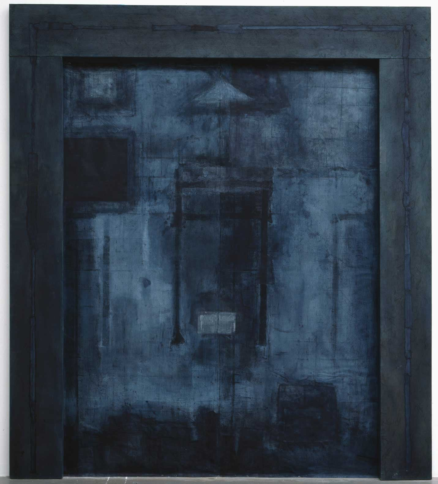 Glowing Gate     1995   Mixed media, washi on linen     106.4 x 94.6 x 2 inches   (270x240x5cm)