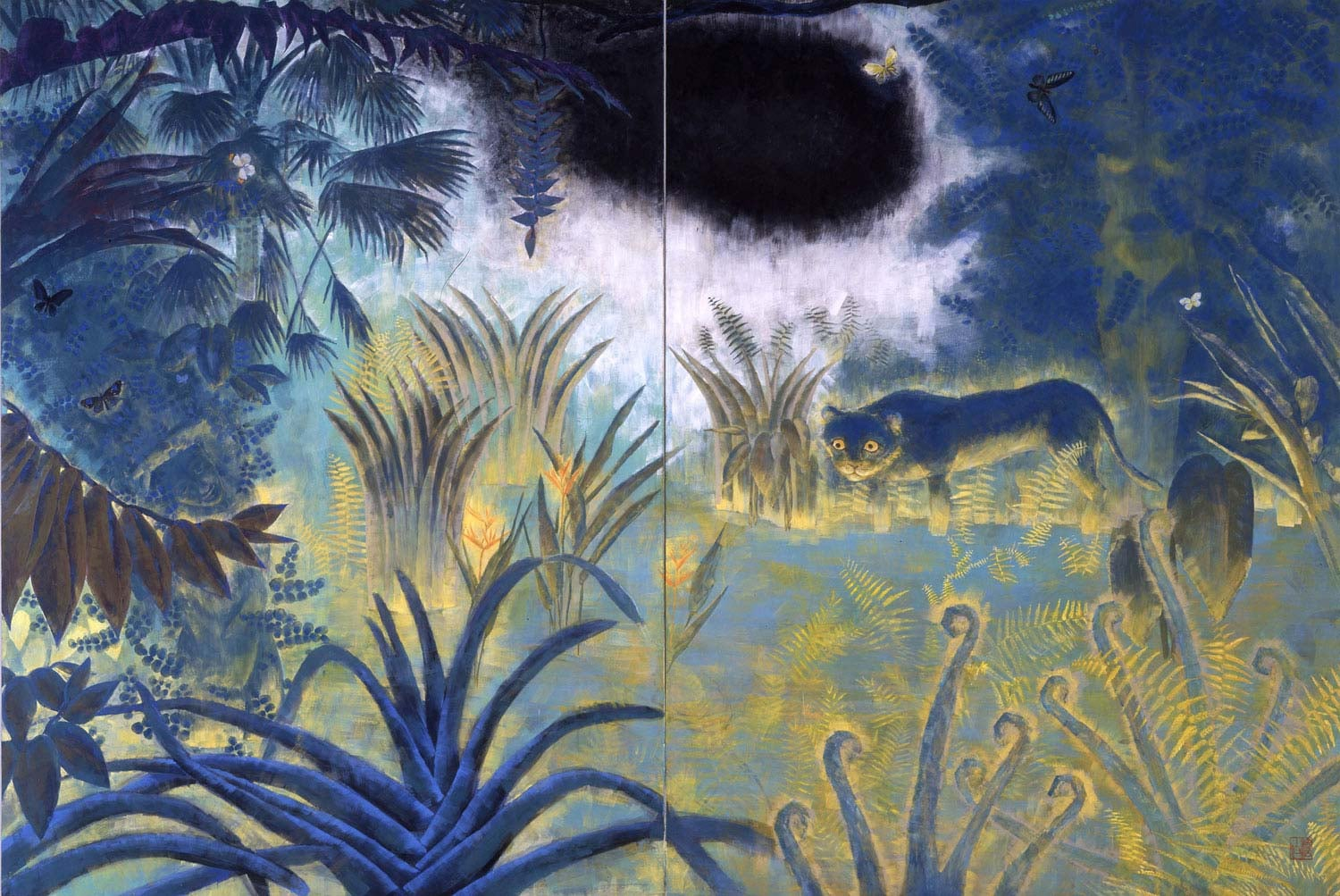 Spring in Forest    1992   Japanese mineral pigment on washi, panel   141 x 98 inches