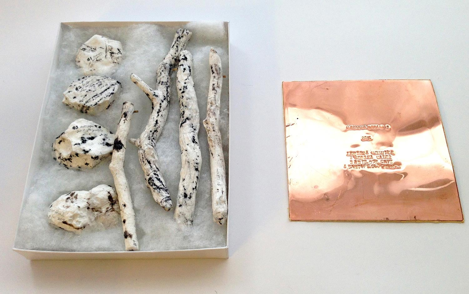 """Arizona Dream #2   (in box)      2014  Tree branches, stones, charcoal, washi paper, copper, tanned leather  7.5"""" x 5.5"""" x 1"""""""