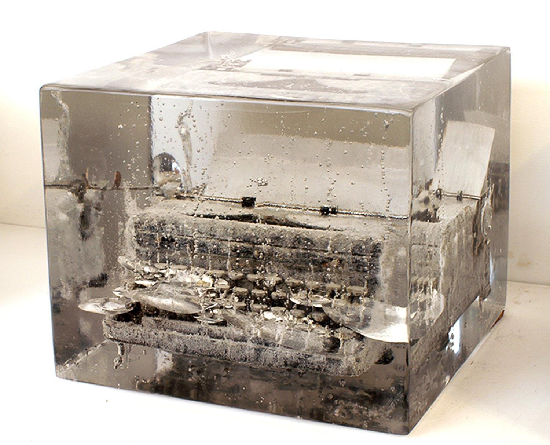 """Typewriter #4: """"Cling to its surface  """"   2012  Washi paper, charcoal, typewriter, resin  13.75"""" x 13.75"""" x 11"""""""