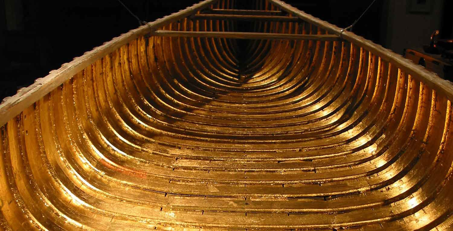 Gilded inside of the boat