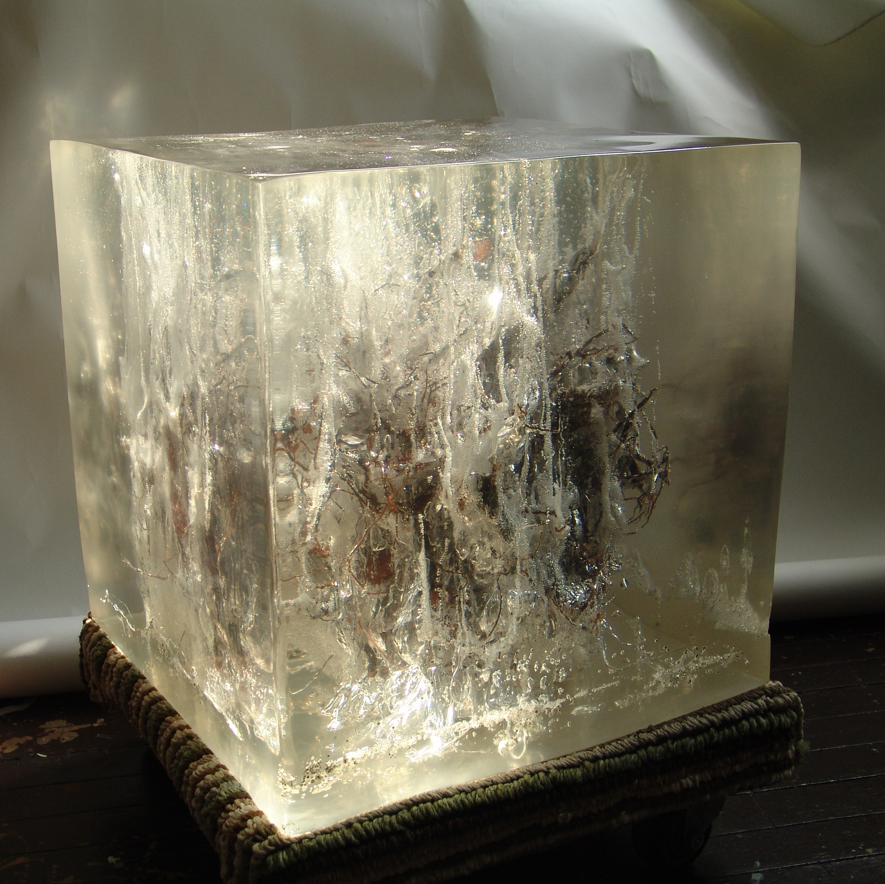 City Root #5   Another experimental cube, exploring bubbles in its chemical reactions, using an actual tree root.