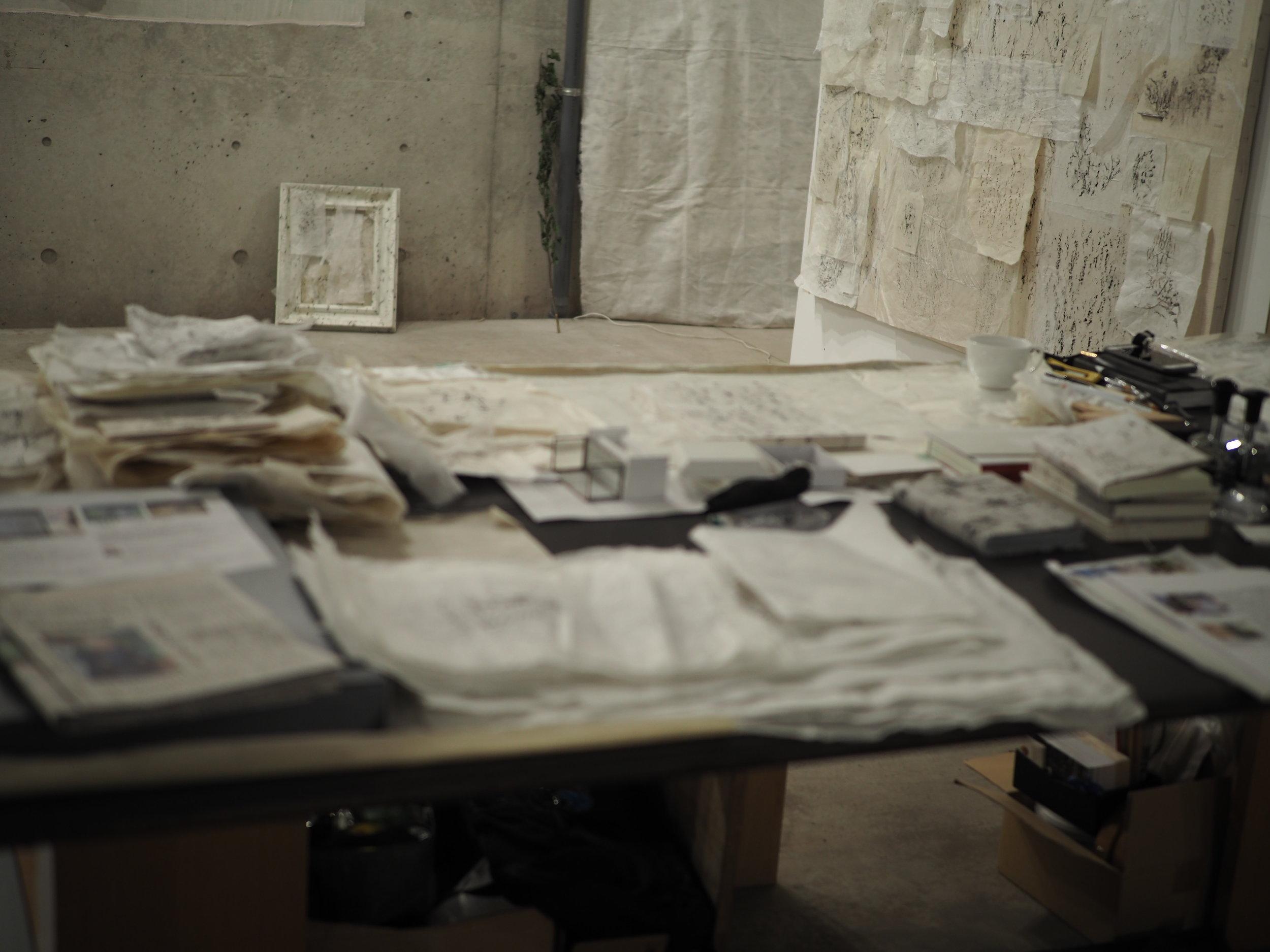 Keiko Miyamori's workspace at Booth 21.